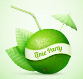 Fresh lime with umbrella and stick royalty free illustration