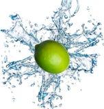 Fresh lime with water splashing on white Royalty Free Stock Photos