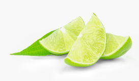 Fresh lime wedges isolated on a white background.  Stock Image