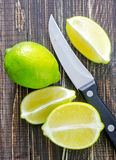 Fresh lime. On wooden board Stock Photo