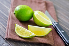 Fresh lime. On wooden board Stock Image