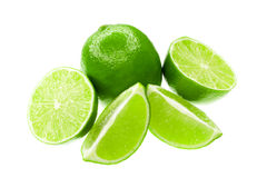 Fresh limes. Isolated on a white background Royalty Free Stock Photos