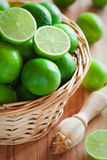Fresh limes. In basket, selective focus Royalty Free Stock Image