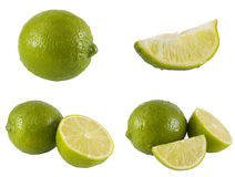 Fresh limes. A series of fresh limes isolated on a white background. The full resolution photo of each can be fround in my portfolio Royalty Free Stock Photography