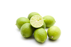 Fresh limes halves Royalty Free Stock Images