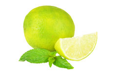 Fresh limes Isolated on white background Royalty Free Stock Photos