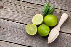 Fresh limes and juicer Royalty Free Stock Photo