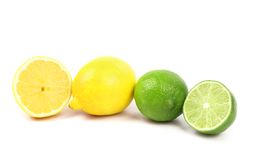 Fresh limes and lemons. Slices. Stock Photo