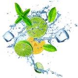 Fresh limes and lemons in water splash. Stock Photo