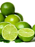 Fresh limes with mint Royalty Free Stock Images