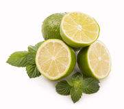 Fresh limes, mint leaves Stock Image