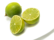 Fresh Limes On Plate Royalty Free Stock Photography