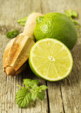 Fresh limes with a reamer Stock Photography