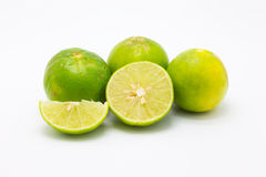 Fresh limes and slice on glass bowl Royalty Free Stock Photography