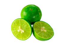 Fresh limes. And slice Isolated on white Stock Photos