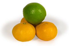 Fresh limes and tangerins isolated on white Stock Photo