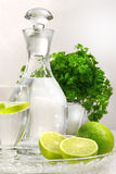 Fresh limes and water Royalty Free Stock Photos