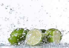 Fresh limes with water splash Stock Image