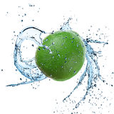 Fresh limeta with water splash. Over white background stock images
