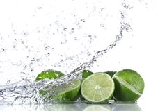 Fresh limeta with water splash Royalty Free Stock Photos