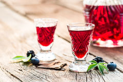 Fresh liqueur made of berry fruits and alcohol Royalty Free Stock Images