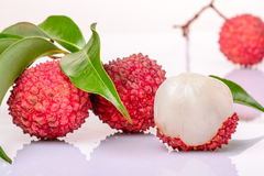 Fresh litchi. On the white background Royalty Free Stock Image