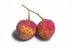 Fresh litchi/lychee isolated on  white background Stock Images