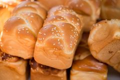 Fresh little Challah for sale at Carmel Market royalty free stock images