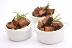 Fresh liver. Some fresh liver in little bowls Stock Photos