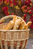 Fresh loaf bread. On the basket in autumn Stock Images