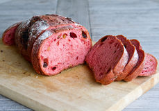 Fresh loaf of bread. Red yeast rise raisin walnut bread stock images