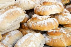 Fresh loaves of bread on sale Royalty Free Stock Photos