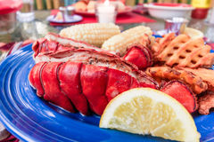 Fresh lobster tail on a plate prepared with butter, corn and potato fries Stock Photography