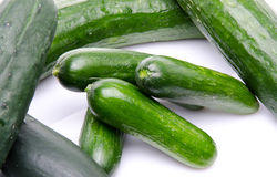 Fresh long and mini cucumbers Stock Photo