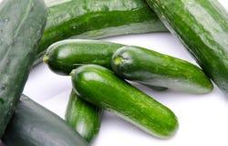 Fresh long and mini cucumbers Stock Photo