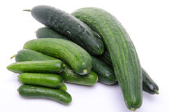 Fresh long and mini cucumbers Royalty Free Stock Image