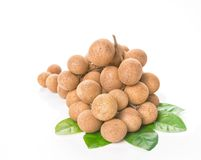 Fresh longan on white background Royalty Free Stock Photo