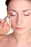 Fresh look-step2. Young woman, close up, applying eye shadow Stock Photo