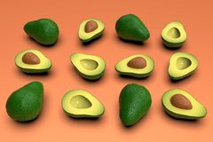 Fresh looking green avocado fruits, whole and cut in half, on pink. Fresh looking, ripe green avocado fruits, whole and cut in half, in grid composition, on stock photography