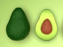 Fresh looking green avocado fruits, whole and cut, landscape. Fresh looking, ripe green avocado fruits, whole and cut in half, with seed, in clean composition royalty free stock photos