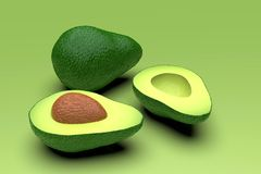 Fresh looking green avocado fruits, whole and cut, landscape. Fresh looking, ripe green avocado fruits, whole and cut in half, with seed, in clean composition stock image