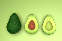 Fresh looking green avocado fruits, whole and cut, landscape. Fresh looking, ripe green avocado fruits, whole and cut in half, with seed, in clean composition stock photo
