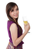 Fresh looking woman and champagne glass, on white Royalty Free Stock Images