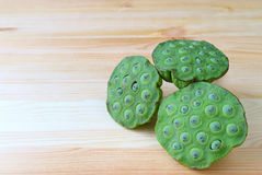 Fresh Lotus Seeds in Lotus Pods, a Healthy Snack on Wooden Table with Free Space for Text Stock Photography
