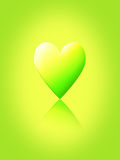 Fresh Love. Theme, Graphic illustration of a green toned heart shape partly reflected below itself Stock Illustration