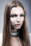 Fresh lovely female face with beautiful clean hair Royalty Free Stock Images