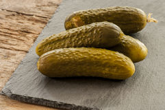 Fresh low-salt pickled cucumbers. Royalty Free Stock Photography