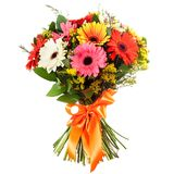 Fresh, lush bouquet of colorful flowers, isolated on white background Royalty Free Stock Photos