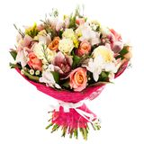 Fresh, lush bouquet of colorful flowers, isolated on white background Stock Photo