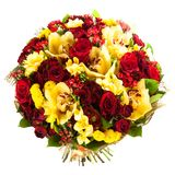 Fresh, lush bouquet of colorful flowers, isolated on white background Stock Photography